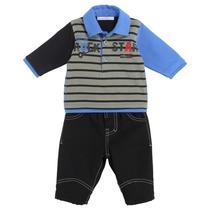 Rock Star Bear striped polo and black lined trousers outfit - Black Colour