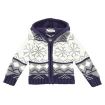 Ivory and Purple snowflake zip hooded cardigan - Collector