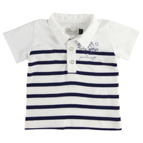 Indigo and white stripe Polo Shirt Baby Bleu