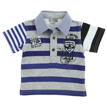 Blue Stripe short sleeve polo shirt Black City