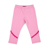 Pink Striped Leggings with Pink Lace Detail - Spirit Ethnique