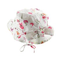 Broken white with floral print hat girl