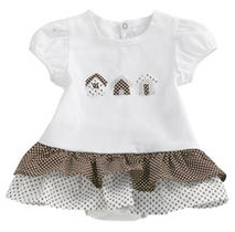 White and brown romper with applique little houses