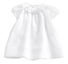 White chiffon dress with puff sleeves and flowered yoke