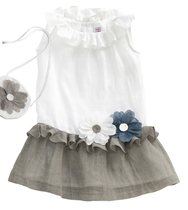 White and Stone Linen Dress with two daisies