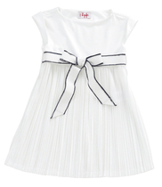 White pleated short sleeved dress with nave edged tie belt