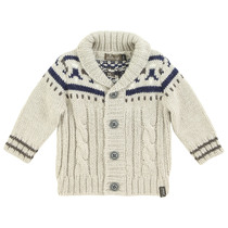 Knitted Beige and Blue Cardigan - Winter (Tiny)