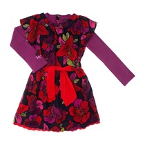 Floral Purple Sleeved Dress - Spirit Ethnique