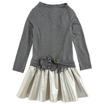 Grey long sleeve dress with golden skirt.