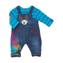 "Denim ""Bunny"" Dungarees with Striped Blue T-shirt - Spirit Couleur"