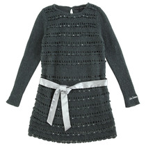 Grey robe tricot knitted long sleeve dress