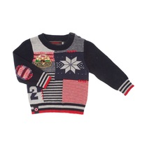 Navy Blue and Red Knitted Winter Cardigan - Urban Glorbal Mix