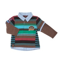 Green, Blue and Gray Striped Polo Shirt - Spirit