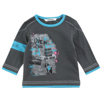 Charcoal Grey Picture Top with Blue Armband - The King
