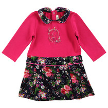 Fuchsia Dress with Floral Skirt - La Piste Aux Etoiles