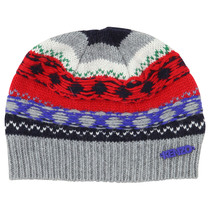 Grey, Red and Blue Knitted Hat - La Piste Aux Etoiles