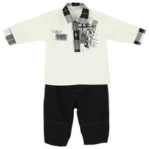 Black and white bear and flag polo shirt and formal trouser outfit - Fete