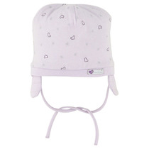 Little pink bonnet with silver heart print - Premiers Jours