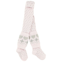 Rose tights with taupe little heart legwarmers - Chic Spirit