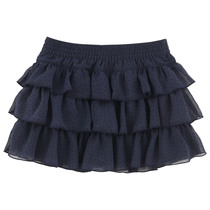 Navy Blue Ruffle Layered Skirt - Mademoiselle