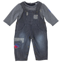 2 Piece Dungaree Outfit with Navy Striped Top - Cargo
