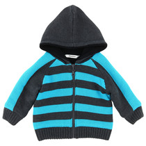 Grey and Turquoise Striped Zip-up Hoodie - The King