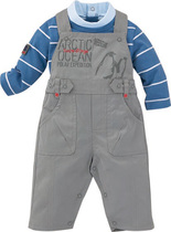 Polar expedition striped turtle neck long sleeve with Dungaree