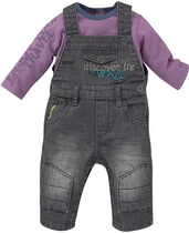 Brown dungaree outfit with blueberry sweater