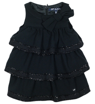 Lapage black layered dress edged with glitter