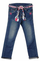 Bonnie -  Denims with Floral Belt - Rock Flowers