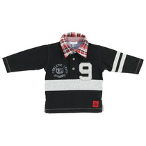 Polo with red checked collar - Black City