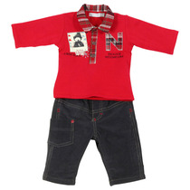 Red snow bear polo outfit with anthracite pants - Grand Nord