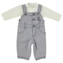 Grey and cream penguin dungaree outfit - BB Pastel