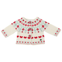 Ecru cardigan with little red heart detail - Grand Nord