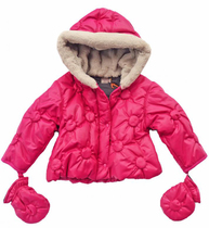 ZRR - Fuchsia Padded Polka Dot Jacket with Mittens - Couleur