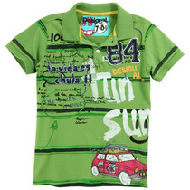 Kogi Wayu - Short sleeve green polo shirt with fun graphics - Fun