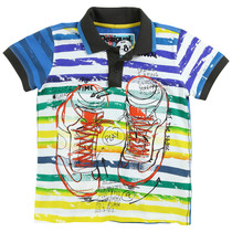 Acholi - Short sleeve polo in bright coloured stripes and graphic detail - Fun