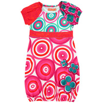 Canton - Short sleeve dress in pink and turquoise circular patterns - Galactic