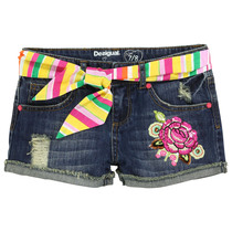 Contralto - Navy denim shorts with a rose and coloured belt - Flower life
