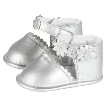 Silver Shoes with floral strap - Chic Spirit