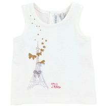 Eiffel Tower vest tshirt with gold bows - City Chic