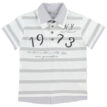 White Stripped Polo Shirt - Chic Boy