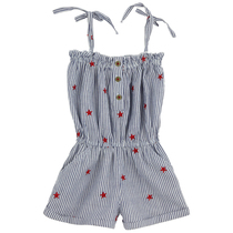 Pin-Striped Onesie With Red Stars-Mini Croisiere