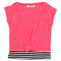 Two layered Tshirt in Orange and black and white stripe - Just Rock