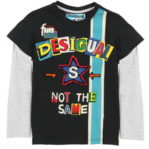 Verdana - Double sleeve Tshirt in black and grey with bright coloured desigual and bold blue stripe