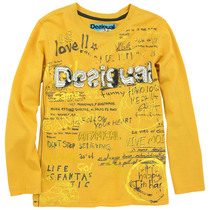 Optima - Bright yellow long sleeve Tshirt with graphic detail
