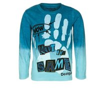 Onyx - Long sleeve Tshirt in blue faded from dark to light with a hand print graphic
