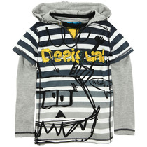 Century - Double sleeved Tshirt with hoodie in black, grey and white stripes with graphic detail