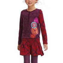 Delairea - Long sleeve dress in rich purple and red with appliqued detail