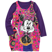 Plat - Bright pink op art pinafore with a Minnie Mouse image